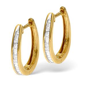 Hoop Earrings 0.40CT Diamond 9K Yellow Gold