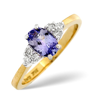 18K Gold Diamond Tanzanite Ring 0.12ct