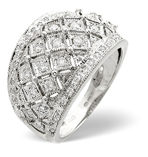 Wide Ring 0.50CT Diamond 9K White Gold
