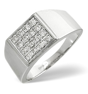 Mens Ring 0.50CT Diamond 9K White Gold