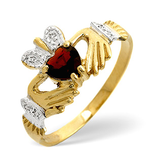Garnet & 0.02CT Diamond Claddagh Ring 9K Yellow Gold