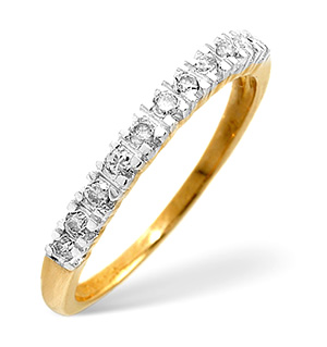 Half Eternity Ring 0.15CT Diamond 9K Yellow Gold