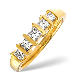 H/Si 5 Stones Ring 0.50CT Diamond 18K Yellow Gold