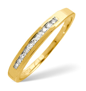 Half Eternity Ring 0.10CT Diamond 9K Yellow Gold