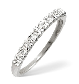 Half Eternity Ring 0.15CT Diamond 9K White Gold