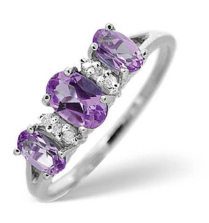 9K White Gold Diamond and Amethyst Ring 0.03ct