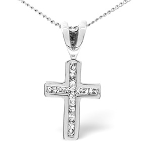 0.25CT Diamond Cross Pendant 9K White Gold