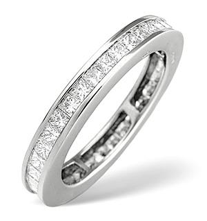 18K White Gold Princess Diamond Eternity Ring 1.52CT