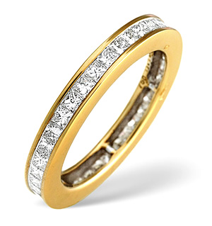 18K Gold Princess Diamond Eternity Ring 1.52CT