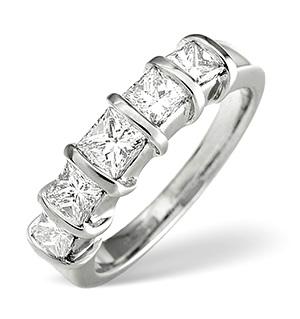 H/Si 5 Stones Ring 1.00CT Diamond 18K White Gold