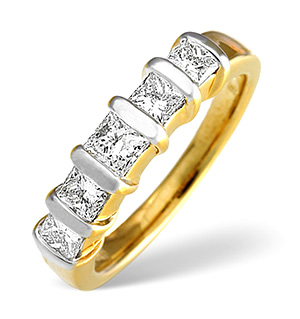 H/Si 5 Stones Ring 1.00CT Diamond 18K Yellow Gold