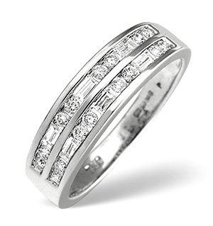 18K White Gold Princess and Baguette Diamond Eternity Ring