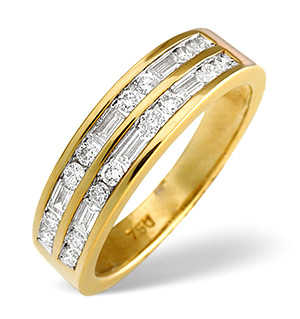 18K Gold Brilliant and Baguette Diamond Eternity Ring