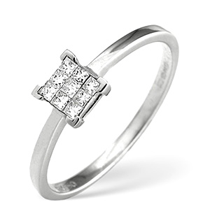 18K White Gold Princess Diamond Cluster Ring