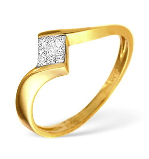 18K Gold Princess Cut Diamond Cluster Ring