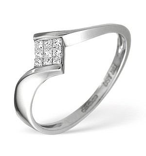 18K White Gold Princess Diamond Twist Ring 0.13CT