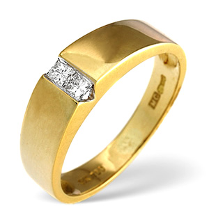 2 Stones Ring 0.15CT Diamond 18K Yellow Gold