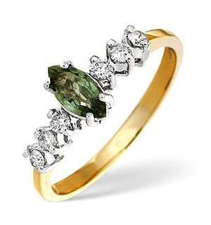 9K Gold Green Sapphire Ring with Diamonds on Shoulders
