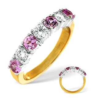 18K Gold Diamond Pink Sapphire Ring 0.50ct