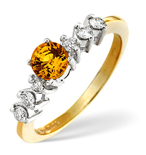 9K Gold Yellow Sapphire Ring with Diamonds on Shoulders