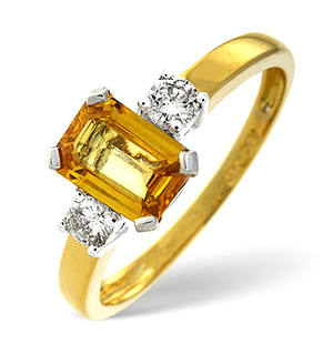 18K Gold Diamond Yellow Sapphire Ring 0.20ct