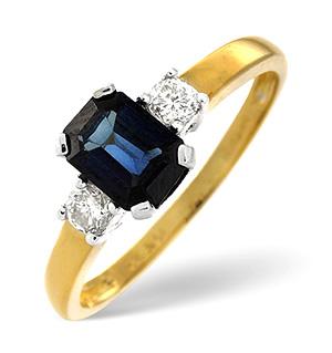18K Gold Diamond Sapphire Ring 0.20ct