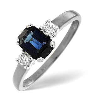 18K White Gold Diamond Sapphire Ring 0.20ct