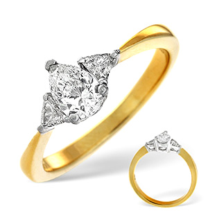 18K Gold Diamond Ring 0.65ct H/si