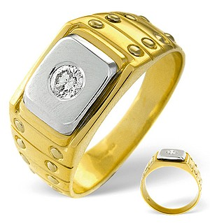 Mens Ring 0.25CT Diamond 18K Yellow Gold
