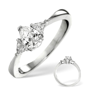 18K White Gold Diamond Ring 0.65ct H/si