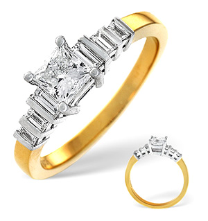 18K Gold Princess and Baguette Diamond Shoulder Ring