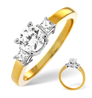 18K Gold Brilliant and Princess Diamond Shoulder Ring