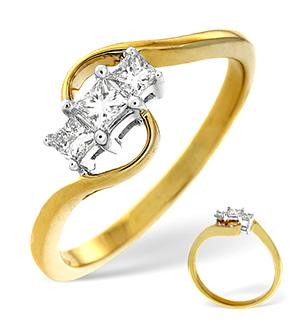 18K Gold 3 Stone Princess Cut Diamond Ring 0.25CT H/Si