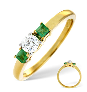 18K Gold Diamond Emerald Ring 0.25ct