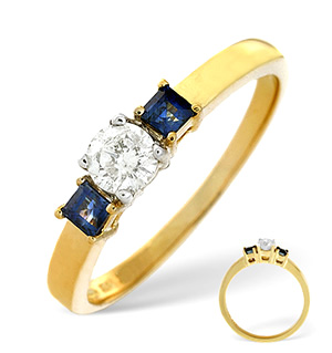18K Gold Diamond Blue Sapphire Ring 0.25ct