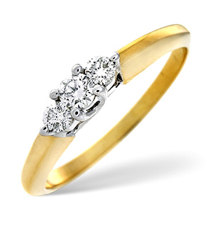 Certified 0.52CT 18K Gold Brilliant Diamond Claw Set Trilogy Ring