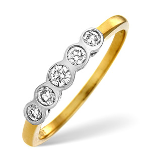 H/Si 5 Stones Ring 0.25CT Diamond 18K Yellow Gold