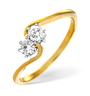 18K Gold Brilliant Two Stone Diamond Twist Ring