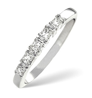 H/Si 5 Stones Ring 0.50CT Diamond 18K White Gold