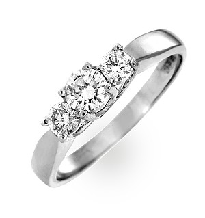Ariella 18K White Gold 3 Stone Diamond Ring 1.00CT H/SI