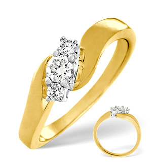 H/Si 3 Stones Ring 0.25CT Diamond 18K Yellow Gold