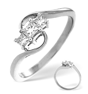 18K White Gold Diamond Ring 0.25ct H/si