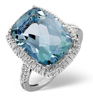 9K White Gold Diamond and Blue Topaz Ring 0.22ct