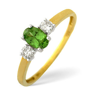 18K Gold Diamond Tsavorite Ring 0.20ct