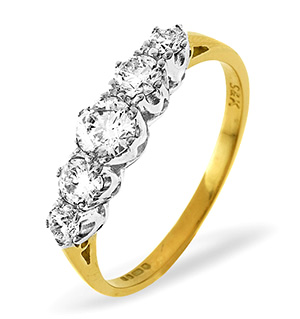 Grace 18K Gold 5 Stone Diamond Eternity Ring 0.75CT PK
