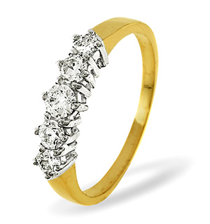 Ellie 18K Gold 5 Stone Diamond Eternity Ring 0.50CT H/SI