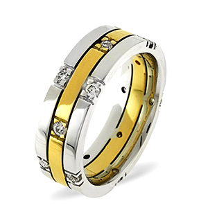 Amy 18K Two Tone Diamond Wedding Ring 0.37CT H/SI