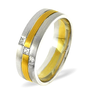 Lauren 3 Stone 18K Two Tone Diamond Wedding Ring 0.07CT H/SI
