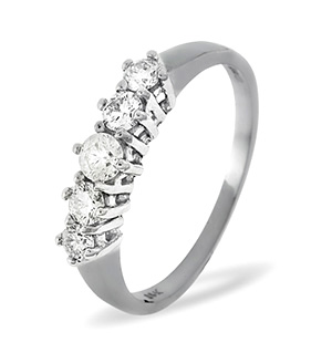 Ellie 18K White Gold 5 Stone Diamond Eternity Ring 0.50CT G/VS