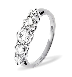 Grace 18K White Gold 5 Stone Diamond Eternity Ring 0.75CT G/VS